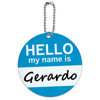 Gerardo Hello My Name Is Round ID Card Luggage Tag