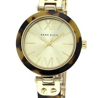 Women's Anne Klein Round Skinny Bangle Watch, 33mm - Gold/ Leopard