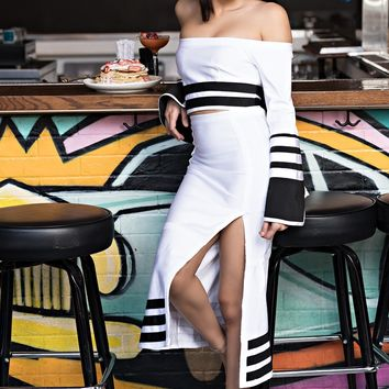 AKIRA Striped Hem Split Midi Skirt in White Black