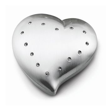 Brushed Heart Jewelry Box w/Crystals