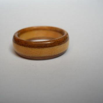 Two tone wood ring - maple and walnut, custom, handmade