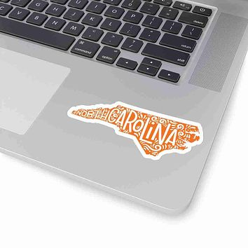 North Carolina State Shape Sticker Decal - Orange