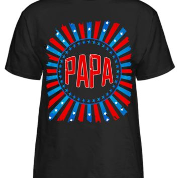 Papa T-Shirt With Stars and American Flag Col