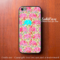 IPHONE 5S CASE ELEPHANT Floral Pink Mint Pattern Phone Case iPhone 5 Case iPhone 4 Case Samsung Galaxy S4 S3 Cover iPhone 5c iPhone 4s