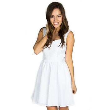 The Garrison Seersucker Dress in White by Lauren James