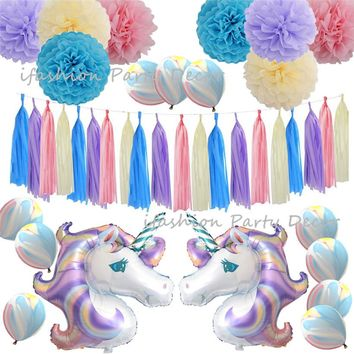 Unicorn Party Decorations Kids Favors Tissue Paper Pom Poms Tassel Garland Unicorn Banner Marble Balloon Wedding Birthday Supply