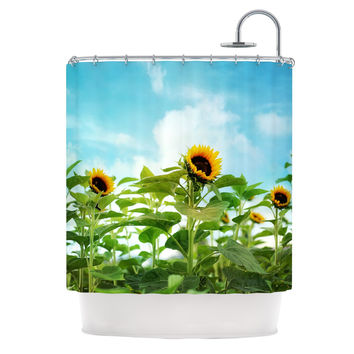 "Sylvia Cook ""Sunflower Field"" Blue Green Shower Curtain"