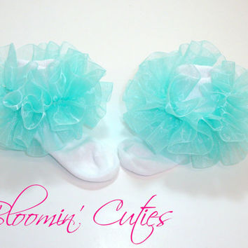 Little Miss Estelle Robin's Egg-Pale Aqua Organza Newborn Infant Toddlers and Girls SUPER RUFFLE SOCKS by Bloomin Cuties Boutique