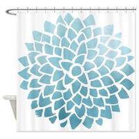 Cloudy Blue Dahlia fabric Shower Curtain , Pastel turquoise blue  - Minimalist  - happy bathroom decor