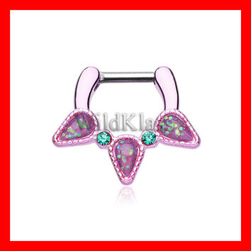 Pink Septum Clicker Opal Purple Sparkle Trident 16g 14g Septum Ring Cartilage Earrings Nipple Ring Circular Barbell Tragus Jewelry Helix