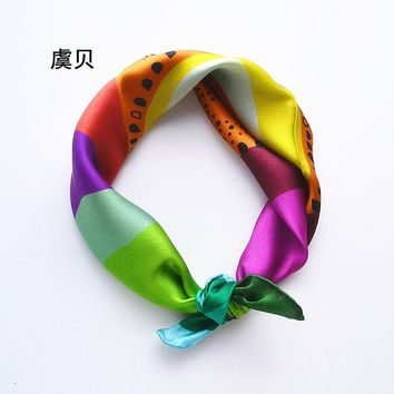 Rainbow color foulard handkerchief lady scarves small square real silk scarf bandanas wrap 41*41cm gifts for women or children