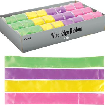 spring color satin wire edge ribbon Case of 48