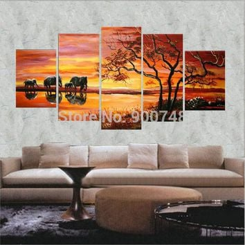 Hand Made Landscape Oil Painting On Canvas Sunrise African Elephants Modern Art Home Decoration 5 Pieces Painting Free Shipping