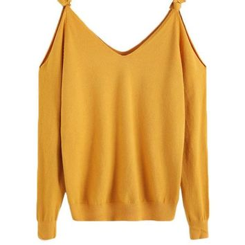 SheIn Womens Sweaters Fashion Autumn Fall Clothes Women Long Sleeve V Neck Pullovers Tie Open Shoulder Jersey Sweater