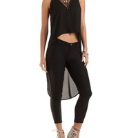 Black Beaded V-Neck High-Low Tank Top by Charlotte Russe