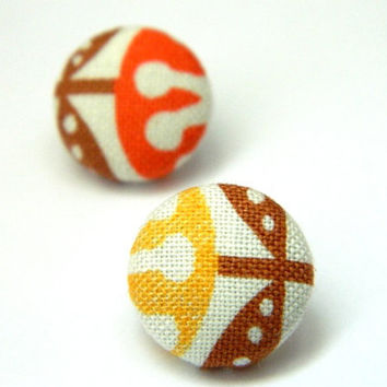 Button Earrings African Inspired Brown Orange by PushTheButtons