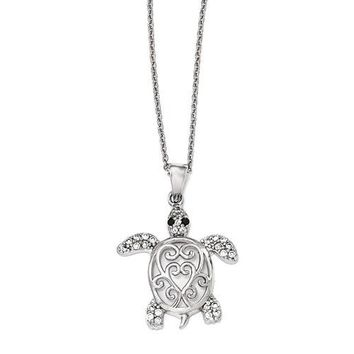 Cheryl M Sterling Silver Black And White CZ Filigree Turtle Pendant Necklace