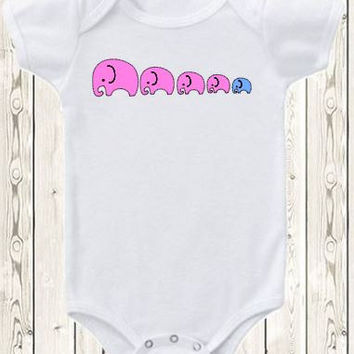 Custom Onesuit ® Brand Bodysuit Or Shirt Elephant Big Brother Little Brother Big Sister Little Sister Family / Pregnancy Announcement