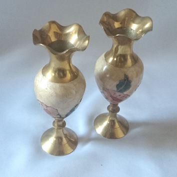 2 x brass vases, Hand decorated in England