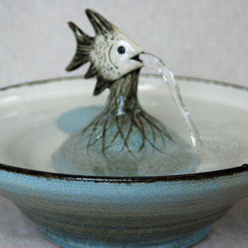 "Pet Fountain - Ceramic Cat Fountain, -  Cat Water Fountain - 12.25 Inch Diameter - ""Angel Fish"""