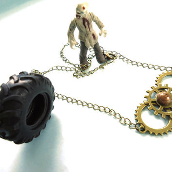 Steampunk Necklace Gift for the Zombie Killer Metal Head Rocker Goth Chick Non Traditional Bride
