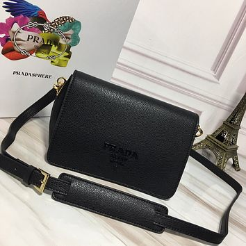 PRADA WOMEN'S NEW STYLE LEATHER INCLINED SHOULDER BAG