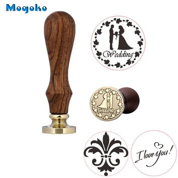 Mogoko 1x Wax Seal Stamp Wedding I Love You Flower Retro Wood Classic Vintage Decorative Invitation Antique Sealing Stamp