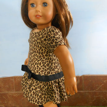 Leopard Print Doll Dress with Black Trim,  Safari Print Dress, Knit Doll Dress, fits 18 inch Dolls such as American Girl Dolls, Upcycled
