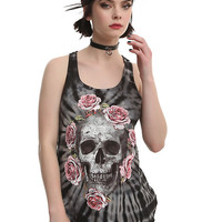 Pink Roses & Distressed Grey Skull Tie-dye Girls Tank Top
