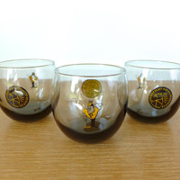 Three Purdue University roly poly glasses in smoked glass
