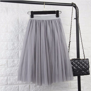 ‰ªÁ Tulle Elastic High Waist Pleated Midi Skirt ‰ªÁ