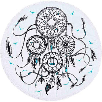 Round Beach Throw Dream Catcher Design Boho Room Decor