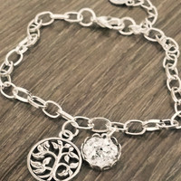 Silver druzy Tree of life chain link bracelet