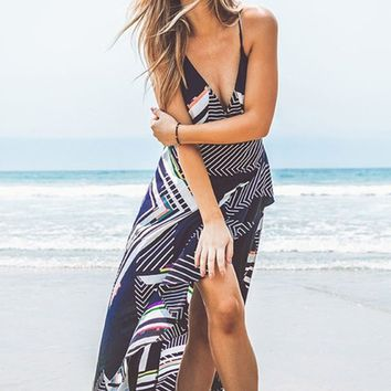 All I Can Do Geometric Pattern Sleeveless Spaghetti Strap Cross Wrap V Neck Ruffle High Low Casual Maxi Dress - 2 Colors Available