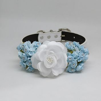 Blue lilac & White garden rose flower, Wedding accessory