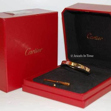 One-nice? Cartier Love Bracelet 17 18k Rose Gold Box/Certificate/Screwdriver NEW B6035