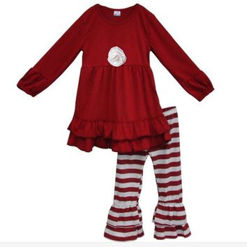 Garnet Red Boutique Top And Pant Ruffle Boutique Toddler Girls Outfit