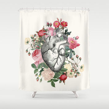 "Floral Heart Shower Curtain ""Rose for her Heart"" Illustration - vintage roses, floral Heart, love, anatomical heart, vintage chic, beautiful"