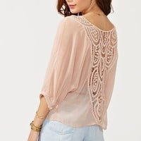 Crochet Tie Top - Blush in Clothes Tops at Nasty Gal