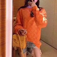 """""""Louis Vuitton LV"""" Women Fashion Solid Color Letter Long Sleeve Sweater Casual Pullover Tops"""