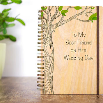 Wood Wedding Journal, Friend Wedding Gift, Gift for Bride, Best Friend Wedding, Personalized Wedding Gift, Bride Notebook, Wedding Favors