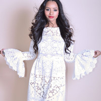 Victoriana Ruffle Sleeves Mini Lace Dress