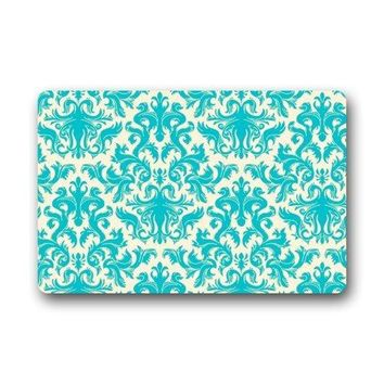 Autumn Fall welcome door mat doormat  Teal Turquoise Classic Damask Pattern Vintage French Floral Swirls  Rug Mats Floor Mat AT_76_7