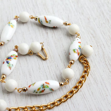 Vintage White Glass Bead Necklace - 1950s Gold Tone Millefiori Costume Jewelry / Colorful Glass Beads