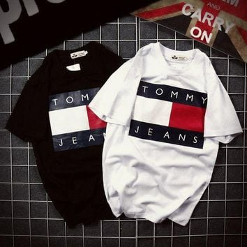 Tommy Hilfiger Tommy Fashion Casual Men and Women Classic Tee Shirt T-shirt