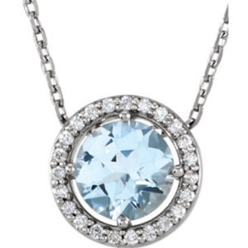 "14K Yellow Blue Sapphire & .06 CTW Diamond 16"" Necklace"