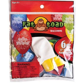 "12"""" Fat Toad Assorted Birthday Confetti Print Balloons - 6 count Case Pack 24"