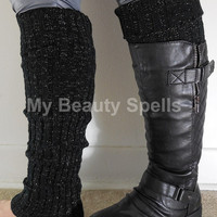 Sparkly Womens Leg Warmers, boot toppers, Knit Legwarmer, boot socks, boot warmers Color Black with Gold sprkling thread