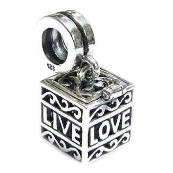 Authentic Nagara Sterling Silver Love Laugh Live Heart Memory Locket Dangle Screw On Bead For European Charm Bracelets