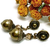 Swarovski Bronze Pearl Autum Acorn Antique Brass Beaded Post Earrings